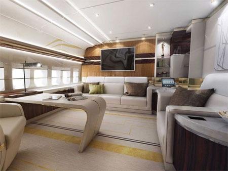 Phòng làm việc lớn trên Boeing 747-8 VIP.