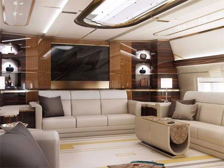 Tất cả vật liệu được sử dụng cho Boeing 747-8 VIP đều là vật liệu cao cấp nhất.