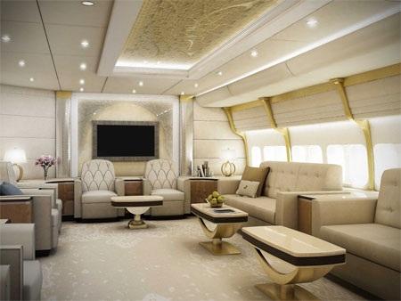 Phòng khách bên trong chiếc máy bay VIP.
