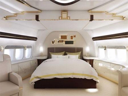 Phòng ngủ trên chiếc máy bay tư nhân siêu sang.