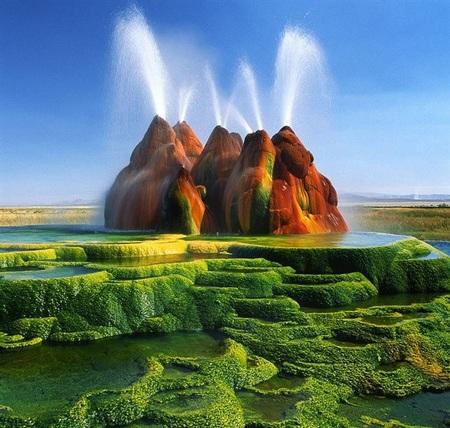 Mạch nước phun Fly Geyser, Nevada. (Ảnh: diply.com)