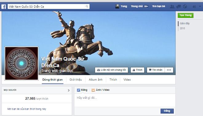 Fanpage Facebook Việt Nam Quốc Sử Diễn Ca m