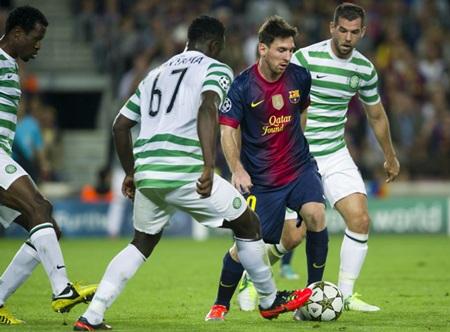 Messi giữa vòng vây các cầu thủ Celtic