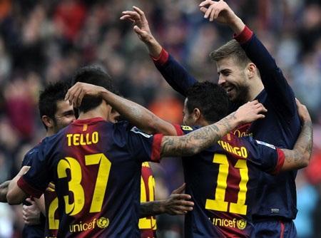 Niềm vui chiến thắng của các cầu thủ Barcelona