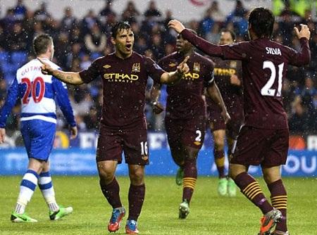 Aguero đưa Man City vượt lên dẫn trước ở cuối hiệp 1