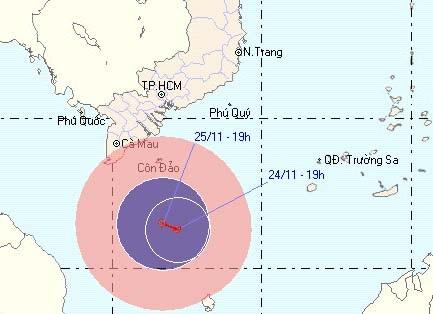 Áp thấp nhiệt đới mạnh đe dọa ven biển miền Nam - 1