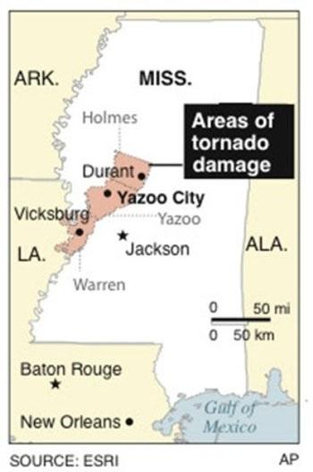 Mỹ: Lốc xoáy càn quét Mississippi, 10 người chết - 2