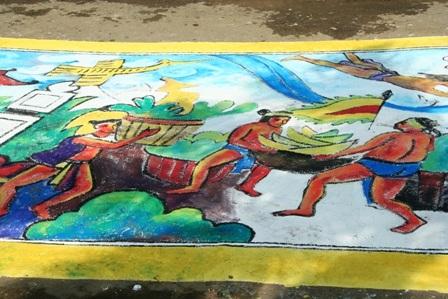 Gần 130 họa sĩ vẽ bức tranh dài 60m - 2