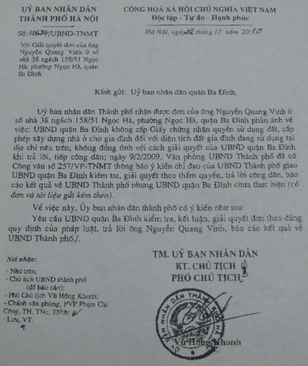 """UBND quận Ba Đình """"phớt lờ"""" chỉ đạo của Thành phố  - 1"""