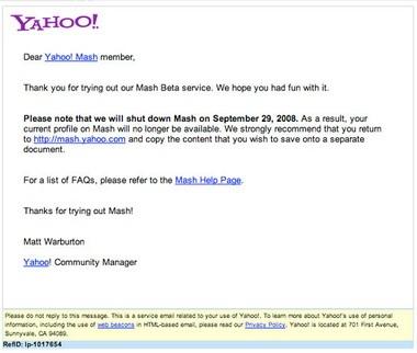 """Yahoo! Mash sẽ bị """"khai tử"""" vào ngày 29/9 - 1"""