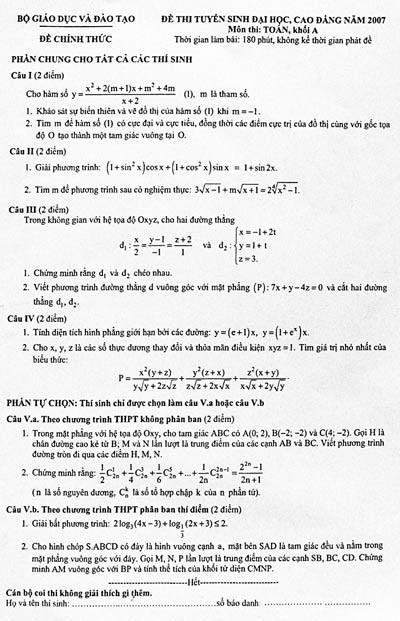 Nhận định và gợi ý giải đề thi Toán khối A - 1
