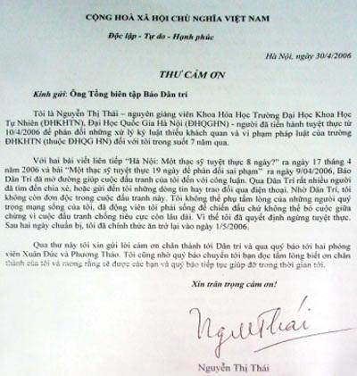 Thạc sỹ Thái được khôi phục quyền lợi - 2