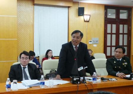Phó Tổng GĐ EVN Đinh Quang Tri tại cuộc họp báo của Thanh tra Chính phủ ngày 10/1/2014.