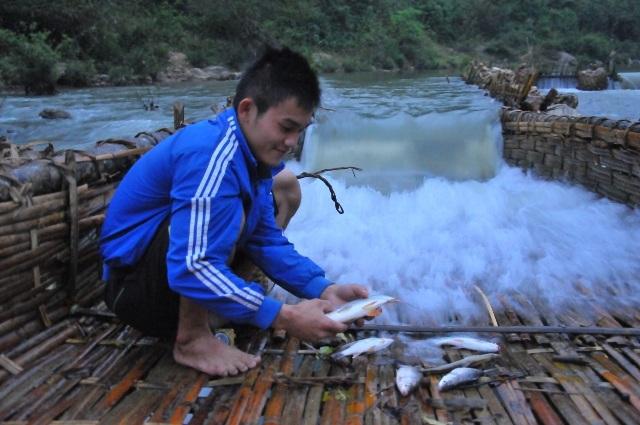 Bẫy cá không chỉ là miếng cơm manh áo của người dân Na Lạc bao đời nay mà còn là niềm vui của họ