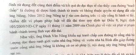 Nội dung ông Nông khiếu nại tranh chấp đất được UBND huyện Tuyên Hóa trả lời là sai