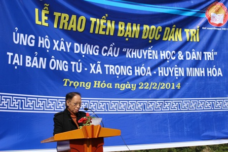 Nhà báo Phạm Huy Hoàn, Tổng Biên tập Báo Dân trí phát biểu tại buổi lễ