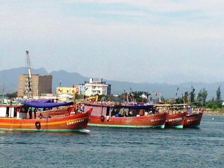 Đoàn tàu cá của ngư dân xã Bảo Ninh, TP Đồng Hới trong một lần ra khơi (Ảnh: Đặng Tài)