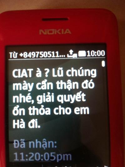 Nội dung một số tin nhắn đe dọa mà bà Kim Hồng cung cấp cho phóng viên Dân trí tối ngày 24/5