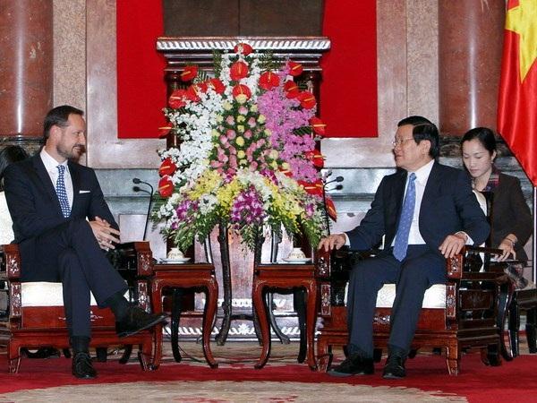 Chủ tịch nước Trương Tấn Sang tiếp Thái tử kế vị Vương quốc Na Uy tại Phủ Chủ tịch. (Ảnh: TTXVN)