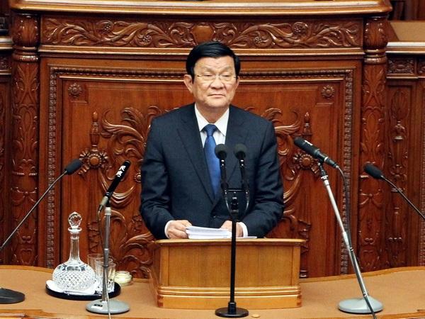 Chủ tịch Trương Tấn Sang phát biểu tại Hạ viện Nhật Bản. (Ảnh: Nguyễn Khang/TTXVN)