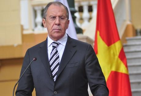 Bộ trưởng Ngoại giao Liên bang Nga Sergei Lavrov tại buổi gặp gỡ báo chí ngày 16/4 (Ảnh Lê Trường)