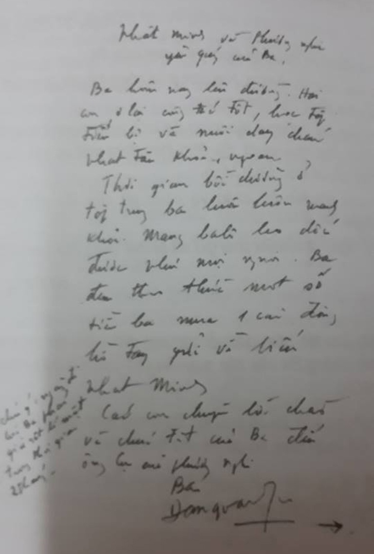 Bức thư cuối cùng gửi con trai Đặng Nhật Minh của GS. Đặng Văn Ngữ