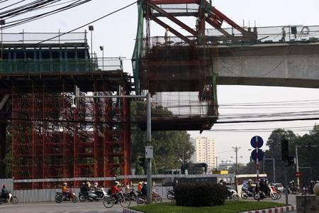 Công trường thi công Dự án đường sắt Cát Linh - Hà Đông (ảnh: Hữu Nghị)