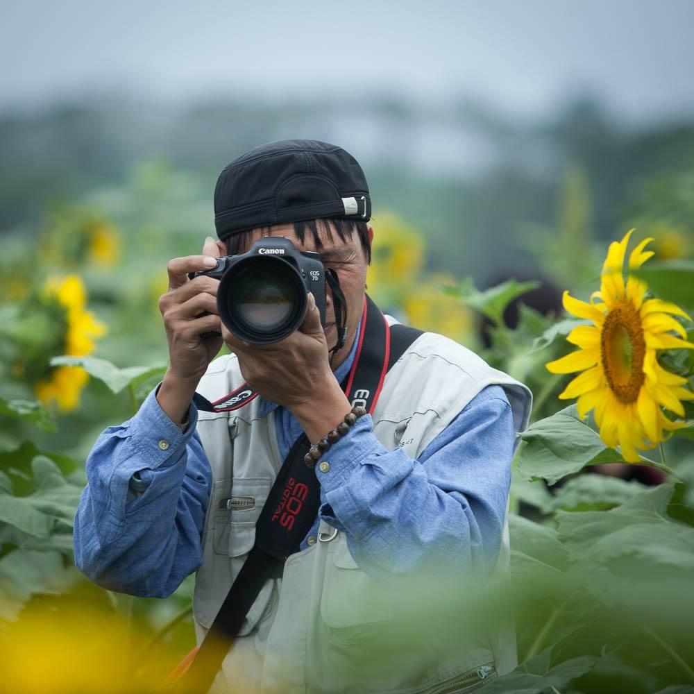 Một nhiếp ảnh gia từ Hà Nội về cánh đồng săn ảnh.