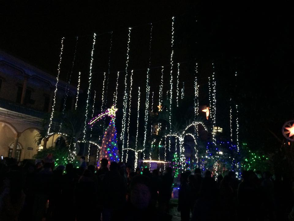 Giàn đèn nháy hàng ngàn bóng toả sáng trong khuôn viên giáo xứ Cầu Rầm.