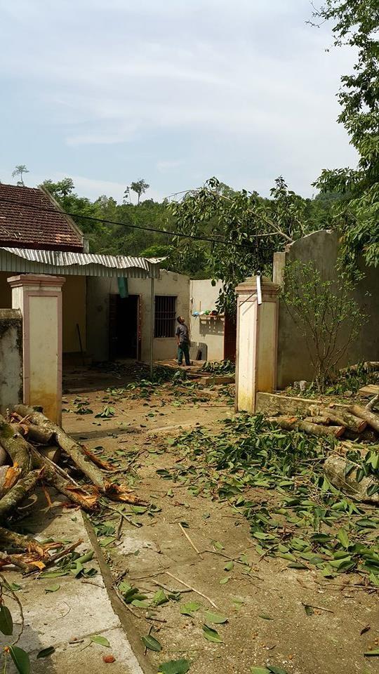 Lốc xoáy xảy cũng đã làm căn nhà để gỗ của trạm QLBVR Bình Chuẩn thuộc Khu BTTN Pù Huống.