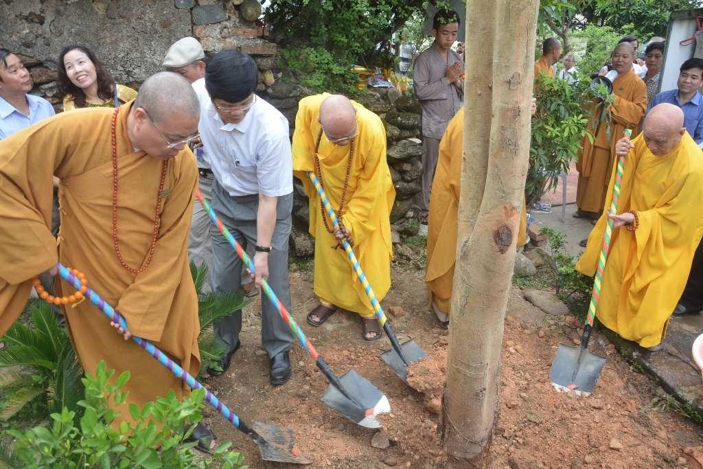 Nhà sư cùng lãnh đạo trồng một cây Bồ Đề tại khuôn viên chùa Đại Tuệ.