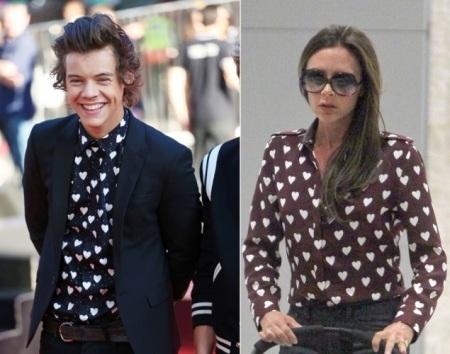 Dường như Vitoria Beckham và Harry Styles có cùng sở thích mặc áo sơ mi tim