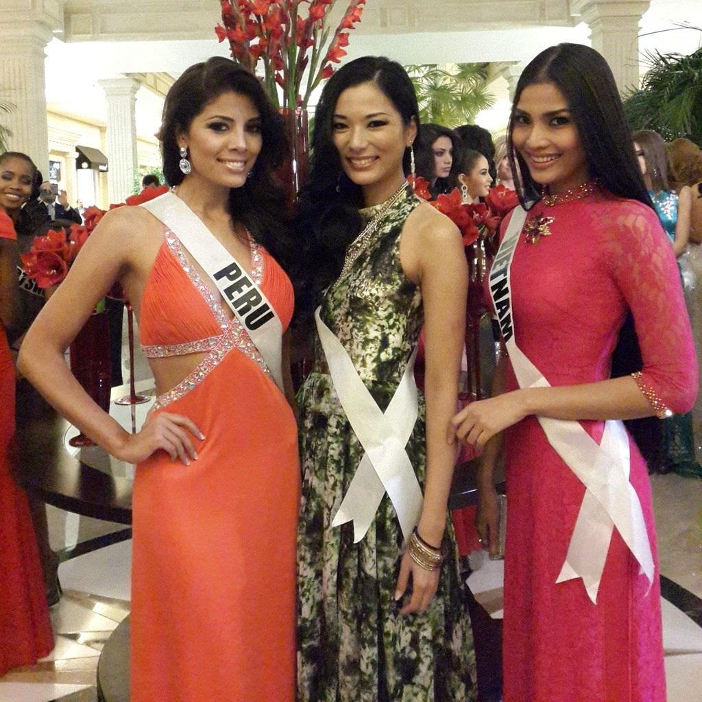 Trương Thị May diện áo dài trong buổi đấu giá từ thiện