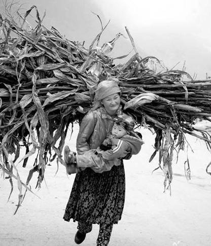 Tác giả: Chu Quang Phúc - Ảnh: Mùa thu hoach ngô ở Hà Giang, em bé cùng mẹ lên nương