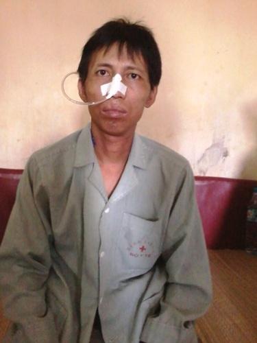 Anh Lê Hồng Cường đang điều trị tại bệnh viện K (Hà Nội)
