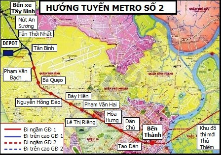 Dự kiến tuyến metro số 2, Bến Thành – Tham Lương sẽ đưa vào khai thác vào năm 2020