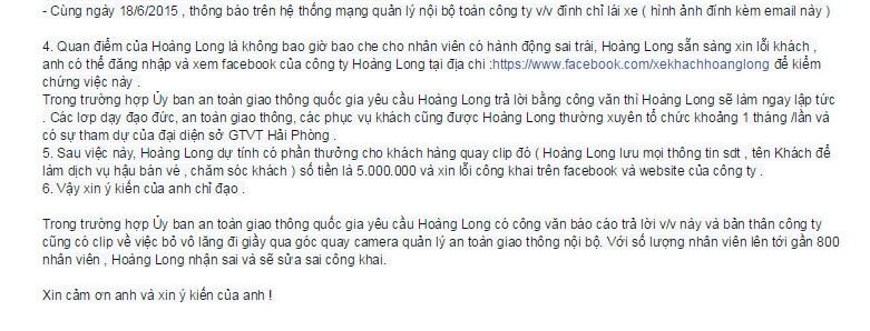 Nội dung email công ty Hoàng Long gửi Phó chủ tịch Chuyên trách UB ATGT QG quốc Khuất Việt Hùng