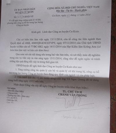 Báo cáo của Hạt Kiểm lâm, văn bản của UBND huyện đề nghị Công an huyện tịch thu khẩu súng