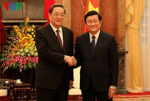 Chủ tịch nước Trương Tấn Sang vàChủ tịch Chính hiệp T.Ư Trung Quốc Du Chính Thanh