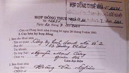 Hợp đồng gốc thuê biệt thự 12 Nguyễn Chế Nghĩa. Ảnh: P.V.