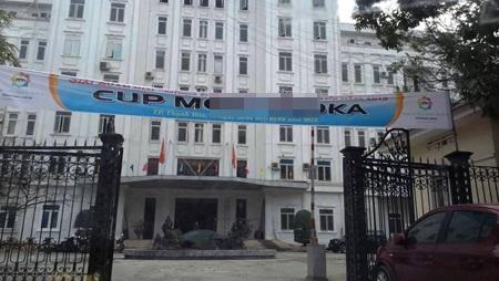 Băng rôn treo trước cổng Sở VH-TT&DL tỉnh Thanh Hóa