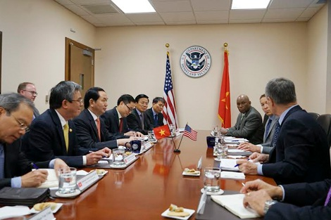 Bộ trưởng Trần Đại Quang hội đàm với Bộ trưởng An ninh nội địa Hoa Kỳ.