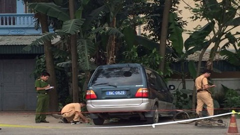 Chiếc xe gây tai nạn tại hiện trường.