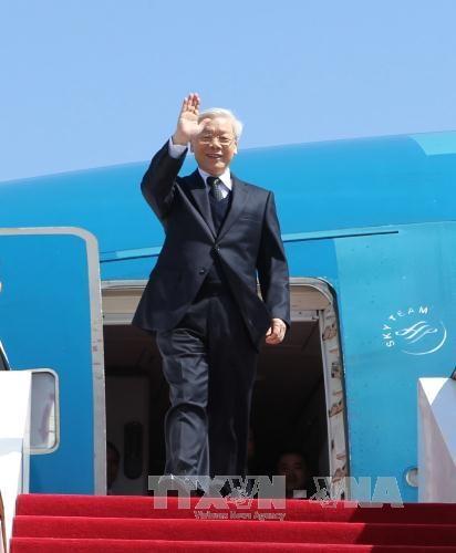 Tổng Bí thư Nguyễn Phú Trọng đến sân bay quốc tế Bắc Kinh. Ảnh: Trí Dũng-TTXVN
