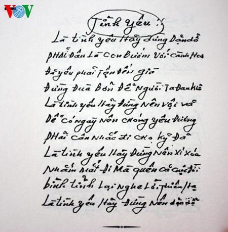 Bài thơ trong cuốn nhật ký của trung úy Nguyễn Văn Nghĩa