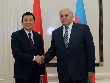 Chủ tịch nước Trương Tấn Sang và Chủ tịch Quốc hội Azerbaijan Ogtay Asadov.