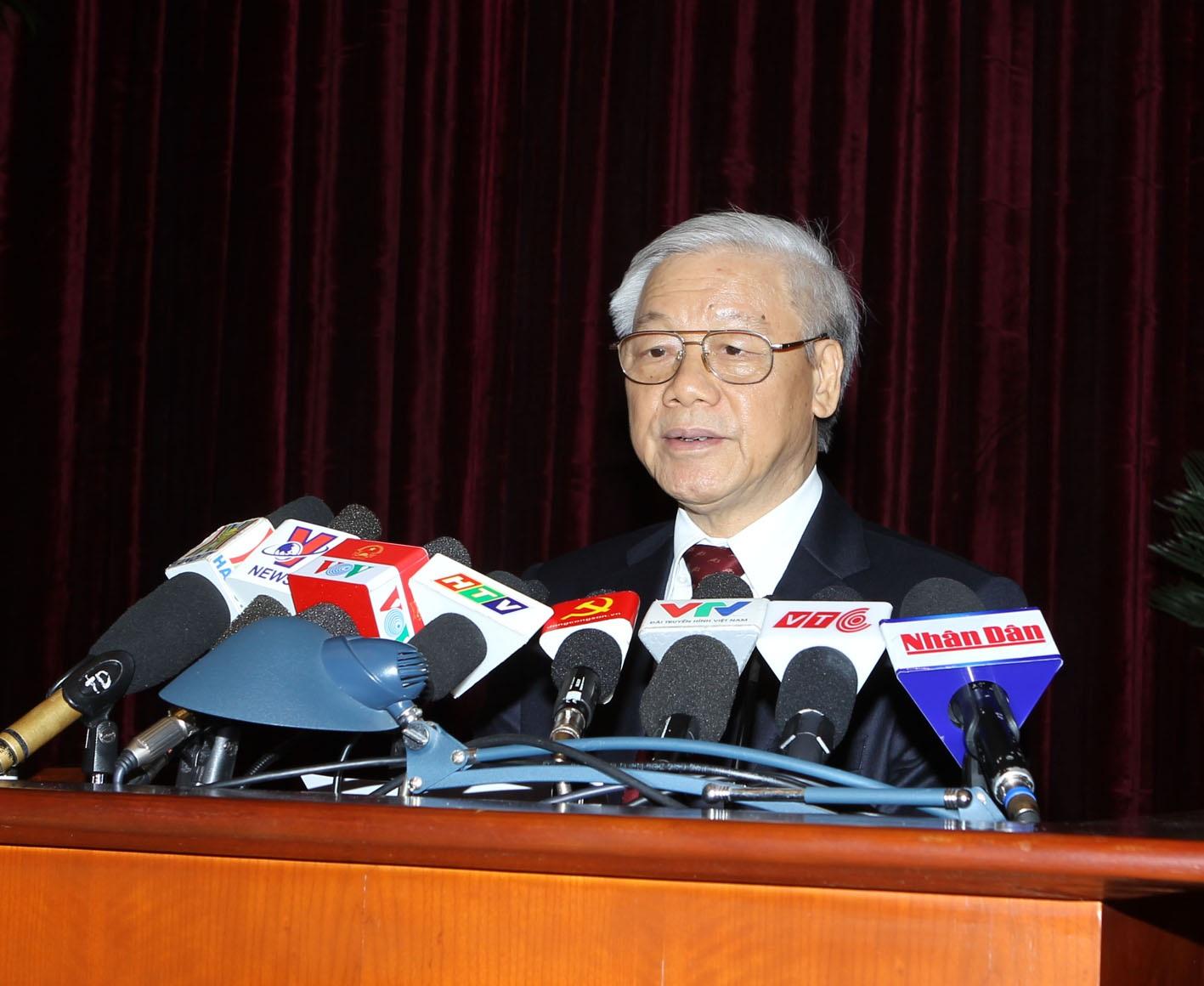 Tổng Bí thư Nguyễn Phú Trọng phát biểu bế mạc Hội nghị. Ảnh: Trí Dũng–TTXVN