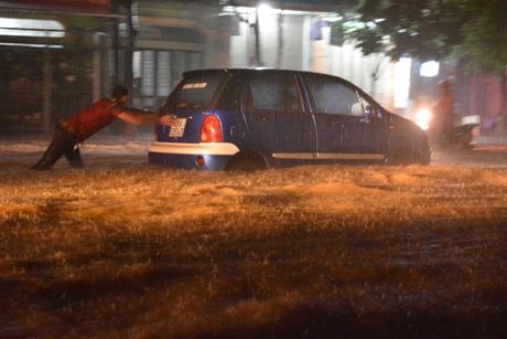 Mưa lũ lớn gây ngập lụt nghiêm trọng tại Sơn La. (Ảnh: Công Luật - TTXVN)