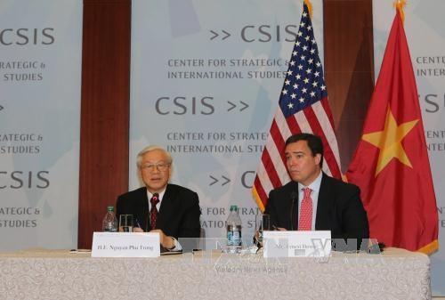 Tổng Bí thư mong Hoa Kỳ tiếp tục đầu tư vào Việt Nam những dự án lớn