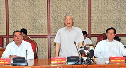 Tổng Bí thư Nguyễn Phú Trọng phát biểu tại buổi làm việc. Ảnh: baonghean.vn